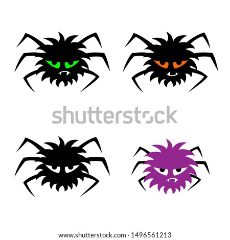 set of four scary spiders with