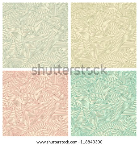 Set of four seamless abstract color patterns. Vector illustration