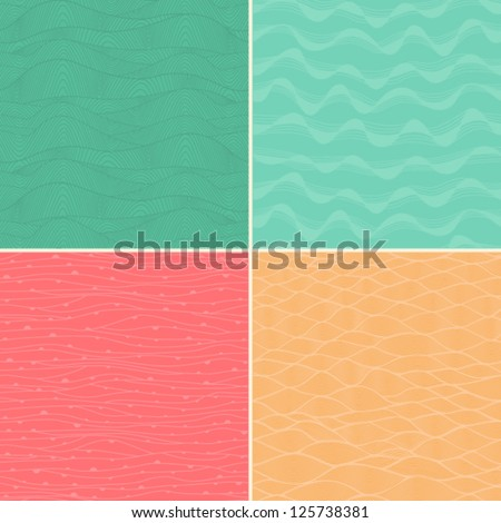 Set of four seamless abstract hand-drawn pattern, waves background. Each square pattern has the ability to be repeated or tiled without visible seams.