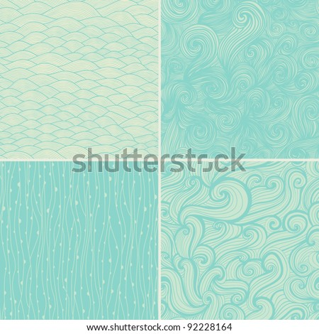 Set of four seamless abstract hand-drawn pattern, waves background. Seamless pattern can be used for wallpaper, pattern fills, web page background,surface textures. Gorgeous seamless floral background