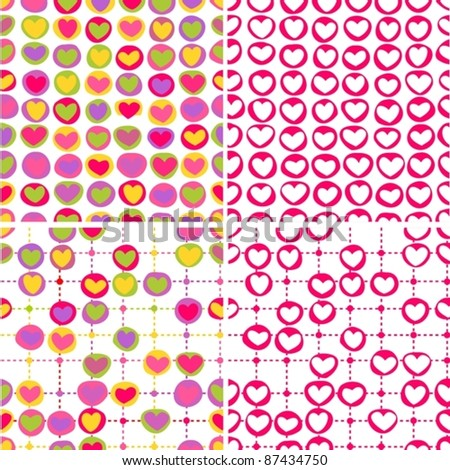 set of four seamless backgrounds with hearts