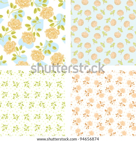 set of four seamless floral patterns. greeting card template