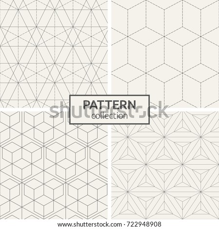 Set of four seamless patterns. Abstract geometrical trendy vector backgrounds. Linear style. Modern stylish textures. Linear grid with triangles, rhombuses and hexagons. Dotted lines.