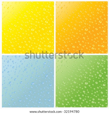 Set of four seamless realistic dew drops water texture - stock vector