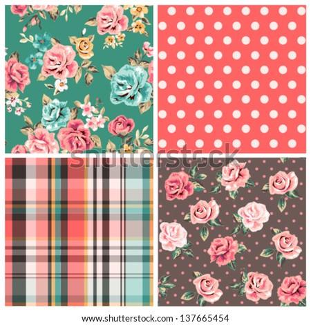 set of four seamless vintage