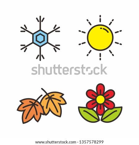 Set of four season vector illustration. Season icon