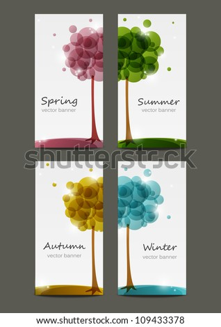 Set of four seasons banners