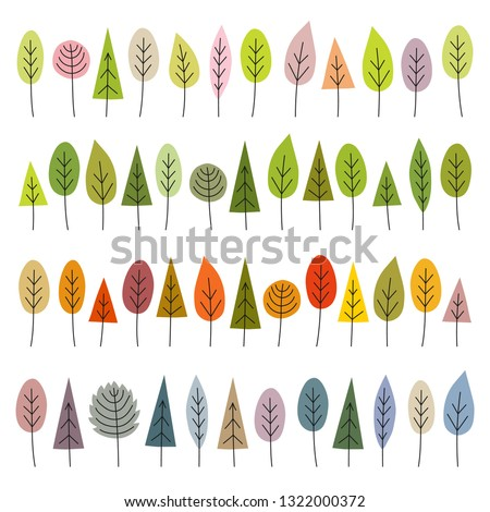 Set of four seasons: spring, summer, autumn, winter. Abstract trees in hand drawn style. Vector illustration isolated on white background