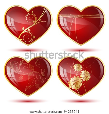 Set of four shiny hearts with golden decorations
