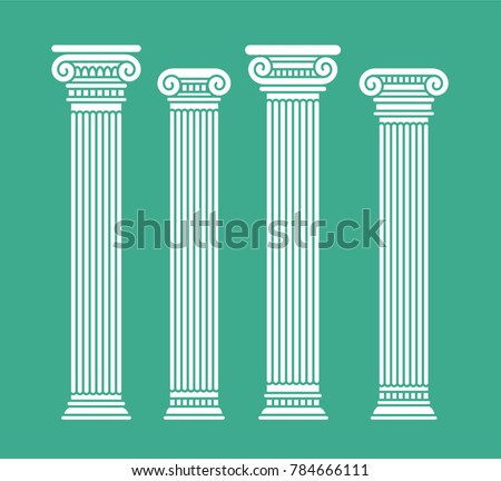 Set of four short rome and greece antique columns and pilars. Vector illustration, isolated, flat, white color. On blue background