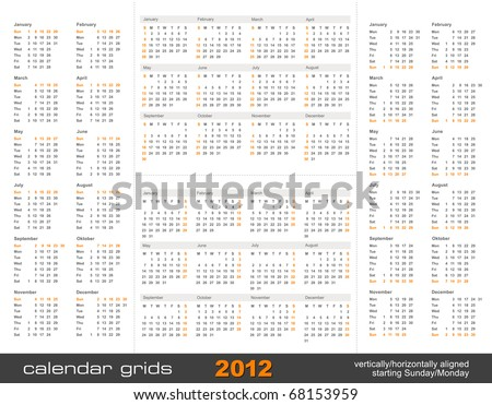 set of four simple calendar grids for 2012 - vertically/horizontally aligned, starting Sunday and Monday