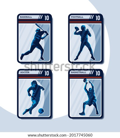 Set of four sport card. Baseball, Football, Soccer, and Basketball player silhouette in frame of playing cards. Perfect for Sticker.