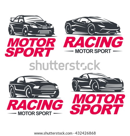 set of four sport cars logo