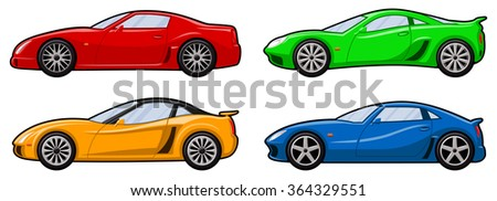 set of four sports cars