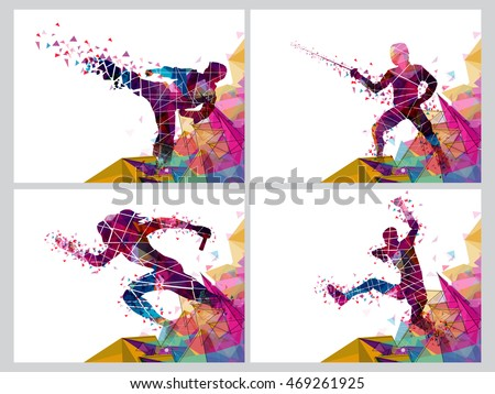 Set of four Sports Poster, Banner or Flyer, Creative illustration of Runner, Fencing Player and Martial Art Player made by colorful abstract design. #469261925