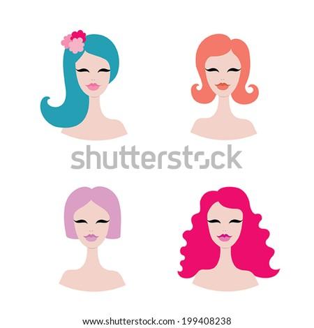 set of four stylish beautiful