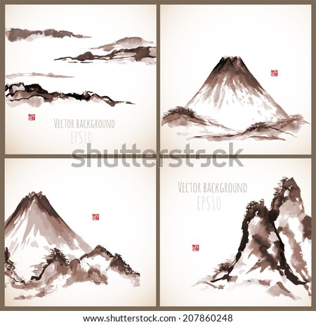 set of four sumi e compositions