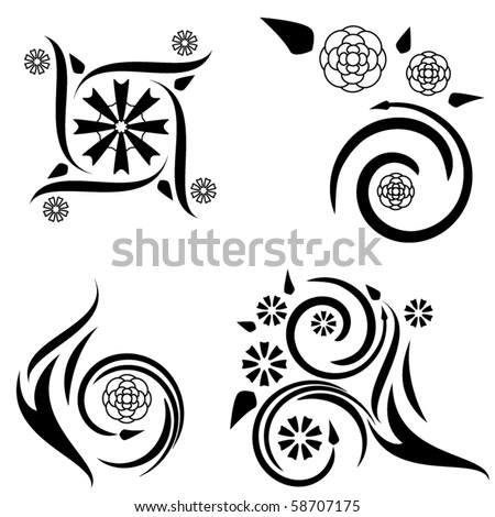 stock vector : Set of four tattoo designs with flame and plant elements