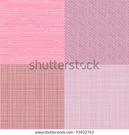Set of four textile textures seamless patterns backgrounds with hand drawn fabrics. Can be used for wallpaper, pattern fills, web page background, surface textures.