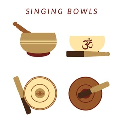 Set of four tibetan singing bowls isolated on white backgrond. Healing music and meditation. Vector flat illustration.