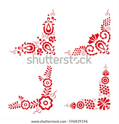 Set of four traditional folk ornaments, hungarian decorative pattern, red embroidery isolated on a white background, vector illustration ストックフォト ©