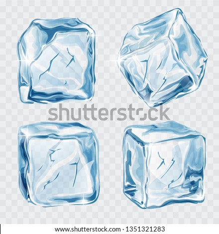 Set of four transparent  blue vector ice cubes