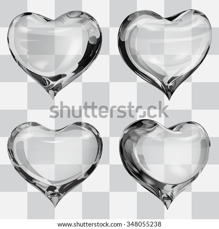 set of four transparent hearts