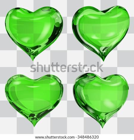set of four transparent hearts