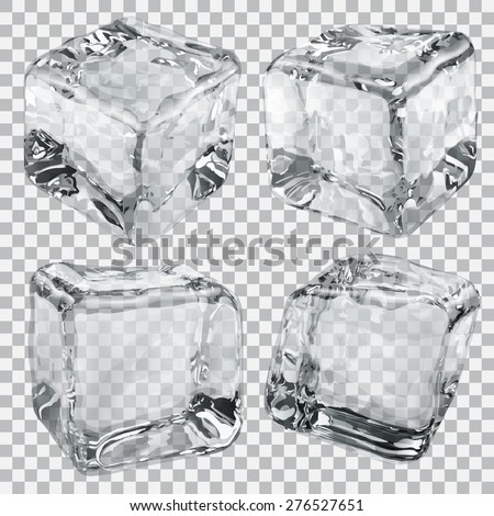 Set of four transparent ice cubes in gray colors
