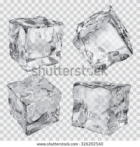 Set of four transparent ice cubes in gray colors - Shutterstock ID 326202560