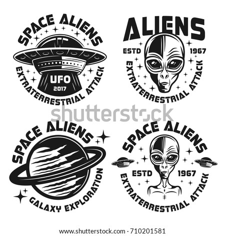 Set of four ufo and aliens vector emblems, labels, badges or logos isolated on white background