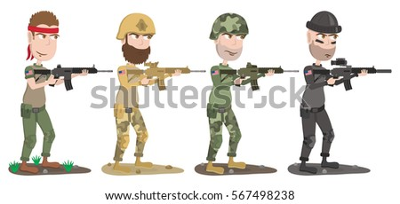 set of four us soldiers of
