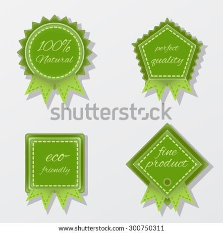 set of four vector bright green