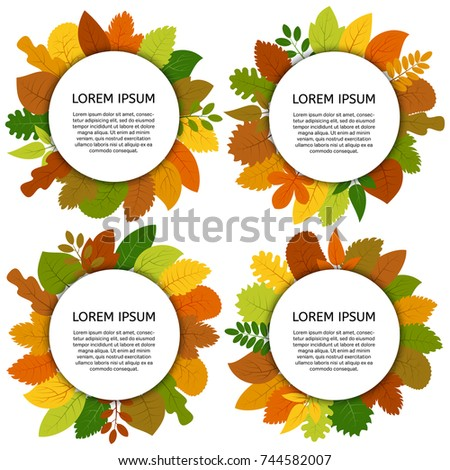 set of four vector card with
