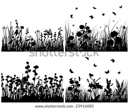 Set of four vector grass silhouettes backgrounds