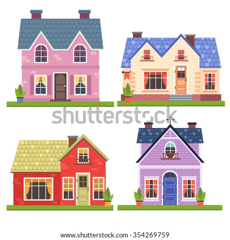 set of four vector illustration of cute colorful houses. vector flat buildings illustration