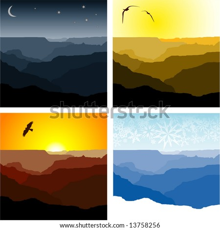 Set of four vector illustrations of the Grand Canyon representing winter, sunset, sunrise and night time.