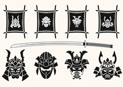 Set of four vector illustrations on a light background. A helmet and the Samurai's mask framed with a traditional frame. The Japanese sword - a katana. Vector illustration.