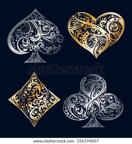 set of four vector playing card