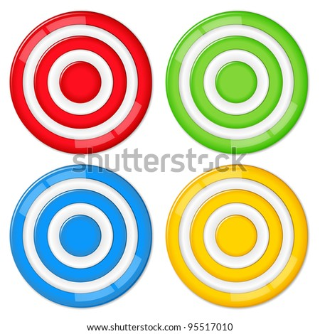 Set of four vector targets on white background