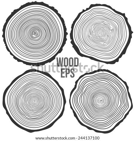 Set of four vector tree rings background and saw cut tree trunk. Conceptual graphics.