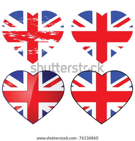 Set of four vector Union Jack flags shaped like a heart