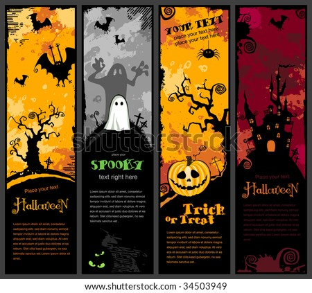 set of four vertical halloween