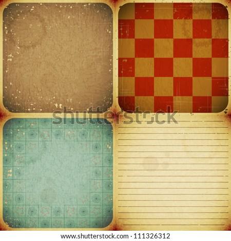set of four vintage paper backgrounds - vector illustration - stock vector