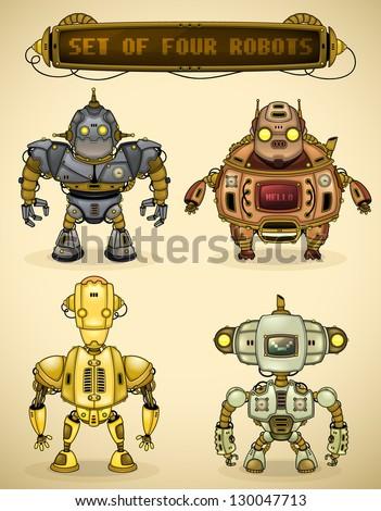 set of four vintage robots