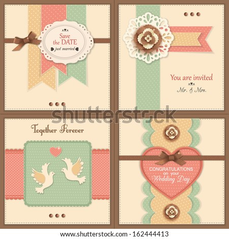 Set of four vintage wedding backgrounds with paper flowers doves and scrapbook elements Modern handmade paper craft design