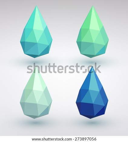 set of four water drops