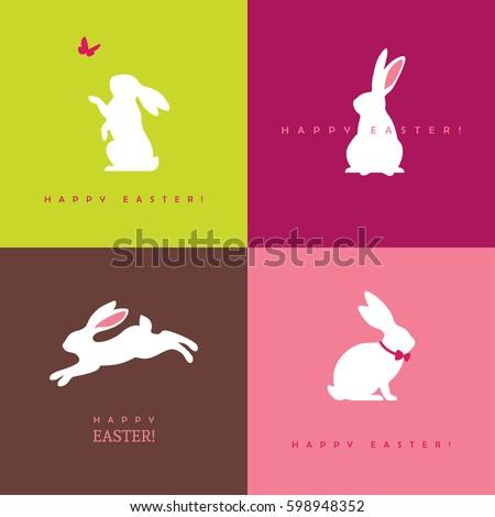 set of four white bunny