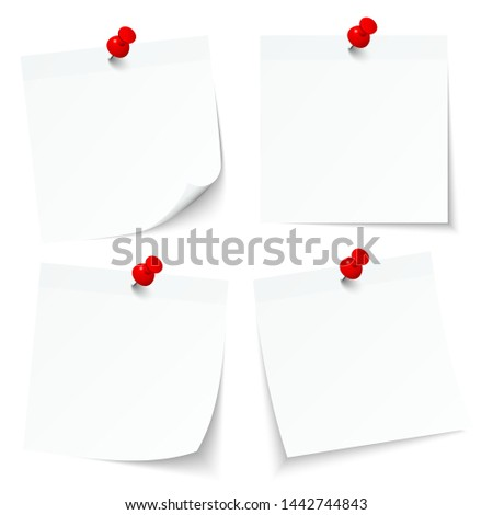 Set Of Four White Sticky Notes With Red Pins