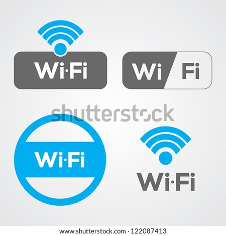 Set of four wifi icons for business or commercial use.